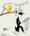 "Animation Art:Limited Edition Cel, ""I Tawt I Taw a Putty Tat!"" Tweety and Sylvester Limited EditionCel #47/100 (Warner Brothers, 1982)...."