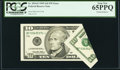 Error Notes:Foldovers, Fr. 2034-F* $10 1999 Federal Reserve Note. PCGS Gem New 65PPQ.. ...
