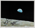 "Explorers:Space Exploration, Apollo 8 ""Earthrise"" Color Photo Signed by Frank Borman and James Lovell. ..."