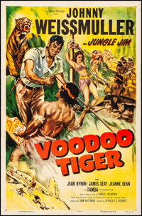 """Voodoo Tiger (Columbia, 1952). Fine+ on Linen. One Sheet (27"""" X 41""""). Adventure. From the Collection of Frank..."""