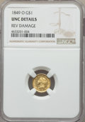 Gold Dollars, 1849-O G$1 Open Wreath -- Rev Damage -- NGC Details. Unc. NGC Census: (27/317). PCGS Population: (9/165). CDN: $800 Whsle. ...