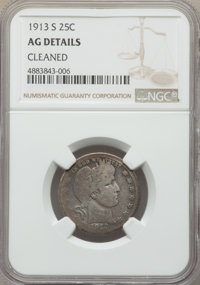 1913-S 25C -- Cleaned -- NGC Details. AG. NGC Census: (32/324). PCGS Population: (46/1369). Mintage 40,000....(PCGS# 566...