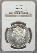 1882-S $1 MS65★ NGC. NGC Census: (19477/8461 and 183/222*). PCGS Population: (19447/6353 and 183/222*). MS65. Mintage 9...
