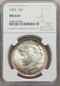 1922 $1 MS64+ NGC. NGC Census: (90113/17418 and 279/178+). PCGS Population: (49562/8034 and 841/196+). MS64. Mintage 51...