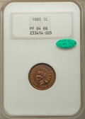 Proof Indian Cents, 1880 1C PR64 Red and Brown NGC. CAC. NGC Census: 101 in 64, 106 finer. CAC: 19 in 64, 47 finer (4/19). Mintage 3,955.. ...