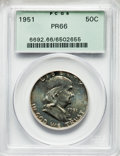 Proof Franklin Half Dollars, 1951 50C PR66 PCGS. PCGS Population: (754/235). NGC Census: (781/380). CDN: $425 Whsle. Bid for problem-free NGC/PCGS PR66....