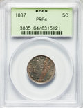 Proof Liberty Nickels: , 1887 5C PR64 PCGS. PCGS Population: (346/248). NGC Census: (228/237). PR64. Mintage 2,960. . From The William Rehwald P...