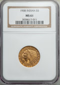 Indian Half Eagles, 1908 $5 MS61 NGC. NGC Census: (1676/4609). PCGS Population: (639/4302). MS61. Mintage 577,800. ...