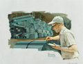 Paintings, Norman Rockwell (American, 1894-1978). Hot Strip Mill Operator, Sharon Steel Corporation advertisement, 1968. Oil on can...