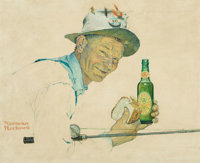 Norman Rockwell (American, 1894-1978) Man with Fishing Rod and Bottle of Ale, Ballantine ale advertisement<