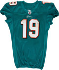 Football Collectibles:Uniforms, 2011 Brandon Marshall Game Worn & Signed Miami Dolphins Jersey, Pants and Duffel Bag....