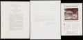 Autographs:Letters, 1960s Chief Justice Earl Warren Signed Ephemera Lot of 3 with JFKAssassination Content....