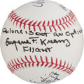 Explorers:Space Exploration, NASA Mission Control: Baseball Signed by Gerry Griffin, Gene Kranz (with Famous Quote), and Glynn Lunney. ...
