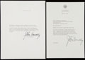 Autographs:Letters, 1964 Governor John Connally Signed Letter Lot of Two, One with JFKAssassination Content....