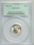 Mercury Dimes: , 1931-D 10C MS65 Full Bands PCGS. PCGS Population: (392/290). NGC Census: (148/67). CDN: $350 Whsle. Bid for problem-free NG...