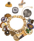 Baseball Collectibles:Others, 1969-81 World Series Press Pins & Pendants Charm Bracelet Belonging to Ron King with Family Provenance....