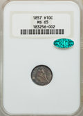 Seated Half Dimes: , 1857 H10C MS65 NGC. CAC. NGC Census: (89/55). PCGS Population: (82/50). MS65. Mintage 7,280,000. ...