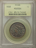 1838 1C MS65 Brown PCGS. PCGS Population: (52/14). NGC Census: (59/16). MS65. Mintage 6,370,200. ...(PCGS# 1741)