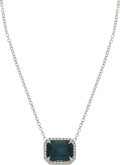 Estate Jewelry:Necklaces, Spinel, Diamond, White Gold Necklace. ...