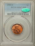 Lincoln Cents: , 1953-S 1C MS67+ Red PCGS. CAC. PCGS Population: (208/0 and 21/0+). NGC Census: (407/0 and 8/0+). CDN: $140 Whsle. Bid for p...