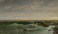 Fine Art - Painting, American, William Trost Richards (American, 1833-1905). The Evening Sea,Brigantine, Shoals. Oil on canvas. 12 x 20 inches (30.5 x...