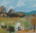 Fine Art - Painting, American, Grandma Moses (American, 1860-1961). The Old Carriage,August 2, 1955. Oil on Masonite. 16 x 18 inches (40.6 x 45.7 cm)...