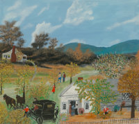 Grandma Moses (American, 1860-1961) The Old Carriage, August 2, 1955 Oil on Masonite 16 x 18 inch