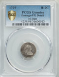 1797 H10C 16 Stars -- Damage -- PCGS Genuine Secure. VG Details. NGC Census: (0/0 and 0/0+). PCGS Population: (8/68 and...