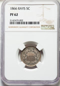 Proof Shield Nickels, 1866 5C Rays PR62 NGC. NGC Census: (13/167). PCGS Population: (24/254). PR62. Mintage 600. ...