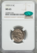 Buffalo Nickels: , 1929-D 5C MS65 NGC. CAC. NGC Census: (60/20). PCGS Population: (225/79). CDN: $850 Whsle. Bid for problem-free NGC/PCGS MS6...