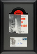"""Explorers:Space Exploration, John Glenn Signed """"Project Mercury"""" First Day Cover with Man in Orbit 33? Record in Framed Display. ..."""