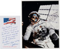 Explorers:Space Exploration, Jack Lousma Signed and Annotated Skylab II (SL-3) EVA Color Photo with Transmittal Autograph Note Signed. ... (Total: 2 Items)