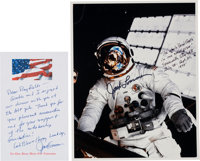 Jack Lousma Signed and Annotated Skylab II (SL-3) EVA Color Photo with Transmittal Autograph Note Signed