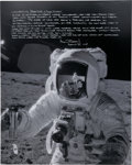 Explorers:Space Exploration, Alan Bean Signed Large Apollo 12 Lunar Surface Photo with Extensive Handwritten Notation. ...