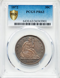 1872 50C PR63 PCGS. PCGS Population: (45/65 and 0/0+). NGC Census: (32/59 and 0/1+). CDN: $1,000 Whsle. Bid for problem-...
