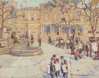 Felicie Waldo Howell (American, 1897-1968) New York City Hall, 1917 Watercolor and gouache on paper<