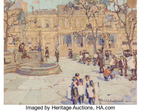 Felicie Waldo Howell (American, 1897-1968) New York City Hall, 1917 Watercolor and gouache on paper 20 x 26 inches (5...