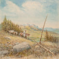 Fine Art - Work on Paper, Olaf Wieghorst (American, 1899-1988). The Way Home.Watercolor and gouache on paper laid on board. 15-1/2 x 15-1/2inche...