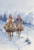 Fine Art - Painting, American, G. (Gerald Harvey Jones) Harvey (American, 1933-2017). CimarronTrail, 1997. Watercolor and acrylic on board. 8-1/4 x 5-...