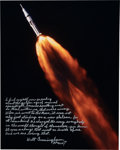 Explorers:Space Exploration, Walt Cunningham Signed Apollo 7 Launch Color Photo with Extensive Personal Commentary about Manned Space Flight. ...