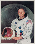 Explorers:Space Exploration, Neil Armstrong Signed Uninscribed White Spacesuit Color Photo, Directly from the Personal Collection of Neil's Brother Dean Ar...