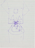 Explorers:Space Exploration, Neil Armstrong Hand-Drawn Image of the Command/ Service Module Capturing the Lunar Module, One of a Series He Drew for His Fat...