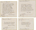 Explorers:Space Exploration, Apollo 9 Flown Group of Four Famous Quotes (Set 1) Directly from the Personal Collection of Mission Lunar Module Pilot Rusty S...