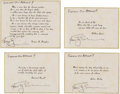 Explorers:Space Exploration, Apollo 9 Flown Group of Four Famous Quotes (Set 2) Directly from the Personal Collection of Mission Lunar Module Pilot Rusty S...