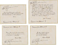 Explorers:Space Exploration, Apollo 9 Flown Group of Four Famous Quotes (Set 3) Directly from the Personal Collection of Mission Lunar Module Pilot Rusty S...