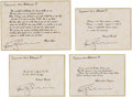 Explorers:Space Exploration, Apollo 9 Flown Group of Four Famous Quotes (Set 4) Directly from the Personal Collection of Mission Lunar Module Pilot Rusty S...