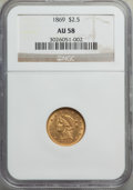 Liberty Quarter Eagles: , 1869 $2 1/2 AU58 NGC. NGC Census: (60/29). PCGS Population: (25/15). CDN: $1,450 Whsle. Bid for problem-free NGC/PCGS AU58....