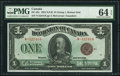 Canadian Currency, DC-25e $1 1923 PMG Choice Uncirculated 64 EPQ.. ...