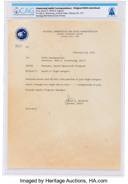 eecfbd8f19 James McDivitt 1971 Typed Letter Signed to Neil Armstrong