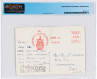 Neil Armstrong Handwritten 1962 Postcard to His Grandparents from Paris Directly From The Armstrong Family Collection™...